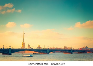 Sightseeing view of Neva river and old architecture in St Petersburg, Russia