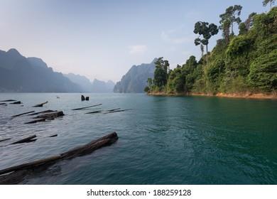 Sightseeing view at Rachapapha dam. Khao Sok National Park. Thailand.