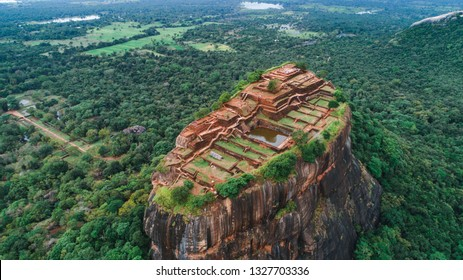 Sigiriya Lion's Rock of Fortress in the middle of the forest in Sri Lanka island