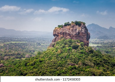 Sigiriya rock - beautiful landscape with views of the Sigiriya or Lion Rock from the neighboring mountain Pidurangala, Dambula, Sri Lanka.