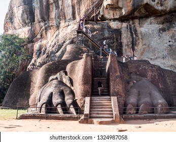 Sigiriya, Shri Lanka - January 29, 2019: Huge lions paws beside the stairs at Sigiriya rock, Sigiriya, Shri Lanka.