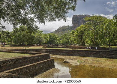 SIGIRIYA, SRI LANKA - AUGUST 15, 2017: Dried Watergardens under the SIgiriya Rock