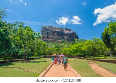 Sigiriya/Sri Lanka - June 2016: Tourists visit the famous Lion's Rock in Sigiriya, Sri Lanka