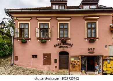 SIGISOARA, ROMANIA - JUNE 4, 2017: Architecture of the historic centre of Sighisoara, Romania. UNESCO World Heritage