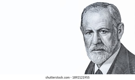 Sigmund Freud Portrait from Austria 50 Schilling 1986 Banknotes. Austrian neurologist who founded the discipline of psychoanalysis. Sigmund Freud (1856-1939)