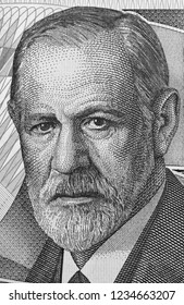 Sigmund Freud portrait on Austria 50 schilling banknote closeup macro. Austrian neurologist and the founder of psychoanalysis. Black and white