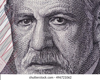 Sigmund Freud portrait on Austria 50 schilling banknote closeup macro. Austrian neurologist and the founder of psychoanalysis.