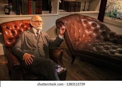 Sigmund Freud wax figures in Madame Tussauds museum in Berlin, Germany - 20/04/2019