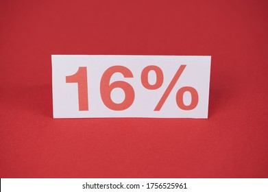 sign with 16 % in red on a red background, the new VAT in Germany as recovery package starting on July 01, 2020