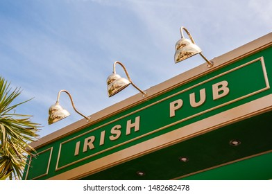 Sign above the entrance to an Irish pub.
