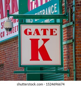 A sign above an entry gate to the baseball park in Boston