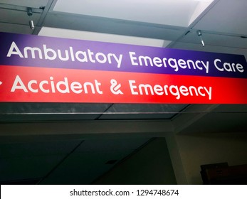 """Sign for """"Accident and Emergency"""" and Ambulatory Emergency care"""