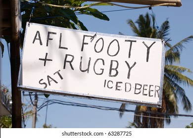 A sign advertising beer, AFL and rugby, Sanur,Bali,Indonesia