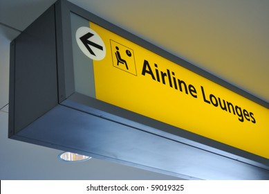 Sign for airline lounge