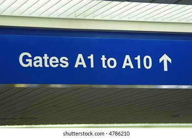 A sign in an airport.
