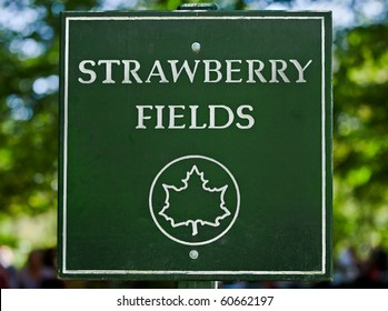 The sign along the path as you enter Strawberry Fields in New York City's Central Park.