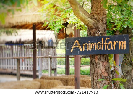 sign animal farm paint by yellow stock photo edit now 721419913