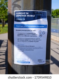 Sign announcing a Covid 19 mobile screening in neighbourhood Montreal, Canada. May 24, 2020