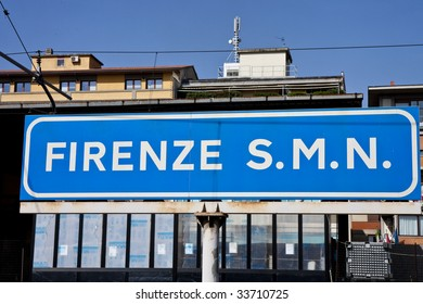 A sign announcing the Santa Maria Novello train station in Florence, Italy