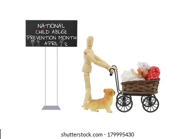 Sign April National Child Abuse Prevention Month Mannequin Baby Stroller Dog isolated on white background