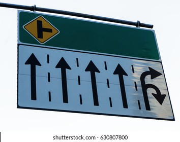 Sign banner over traffic lanes on white background