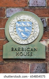 The sign for Barbican House in the town of Lewes in Sussex, UK.  The Barbican House Museum is home to a fine archaeological collection.