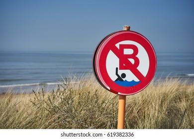 Sign of bathing ban