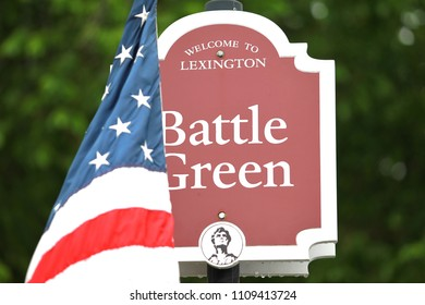 Sign of Battle Green in Lexington, MA