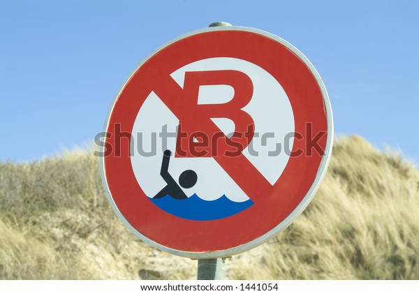 sign at the beach : No swimming allowed