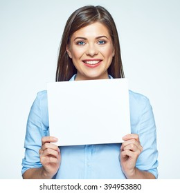 Sign board. Business woman holding big white card. Isolated portrait.