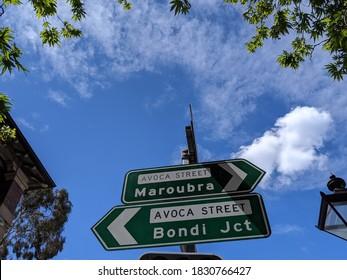 Sign of Bondi Juction and Maroubra, Sydney Metro Area