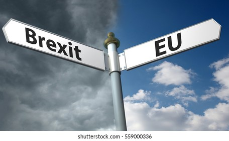 Sign with sign with brexit and EU