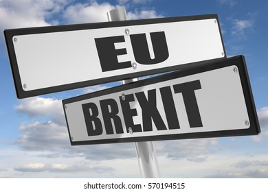 Sign with sign with brexit and EU on white background