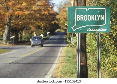 A sign for Brooklyn, Connecticut