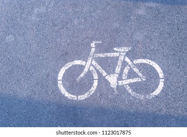Sign  Of  The Bycicle. The Bycicle On The Asphalt.