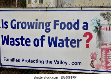 a sign of california's never-ending controversy over water usage is displayed alongside a highway outside of fresno, california, u.s.a. on november 17, 2019