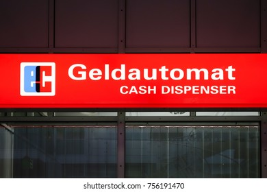 Sign for Cash Dispenser in the Munich Airport, Bavaria, Germany, Europe, 15. April 2014