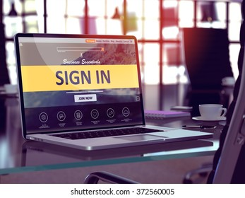 Sign In Concept - Closeup on Laptop Screen in Modern Office Workplace. Toned Image with Selective Focus. 3d Render.