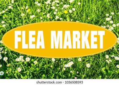 "Sign Concept with lettering ""Flea Market"""