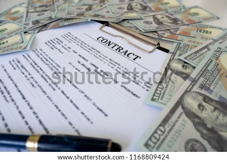 Sign Contract More Money US Dollar Stock Photo (Edit Now) 1168809424