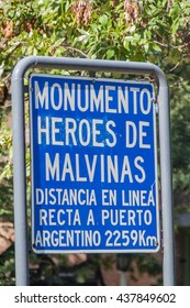 Sign in Cordoba: Monument of heroes of Falkland Islands (Malvinas).