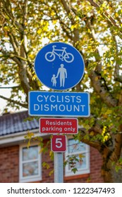 Sign cyclists dismount and residents parking only
