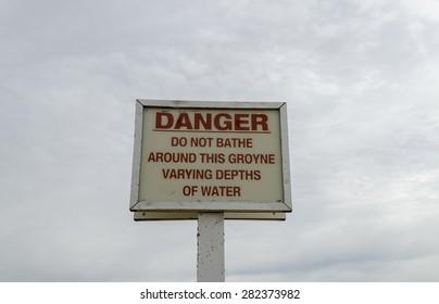 Sign danger deep water, Clacton-on-sea, Essex, UK