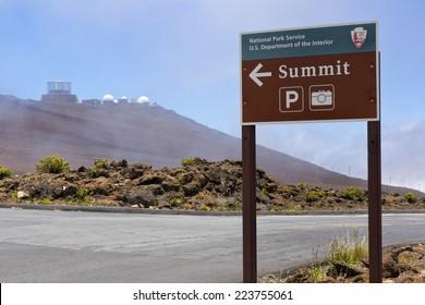 sign directing to the summit of haleakala, maui, hawaii