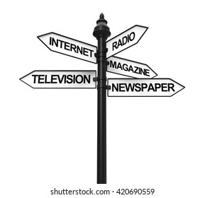 Sign Directions of Media Information. 3D rendering