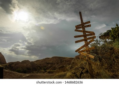 A sign of directions in Red Valley, Kapadokya