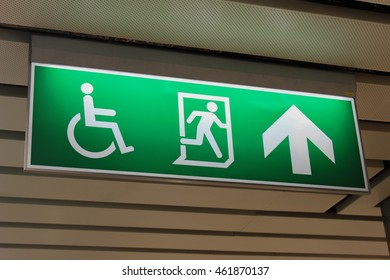 sign of disable person and exit way in subway in Bangkok city