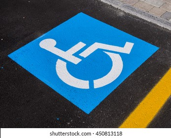 Sign disabled or handicapped, detail of a signal in a parking support