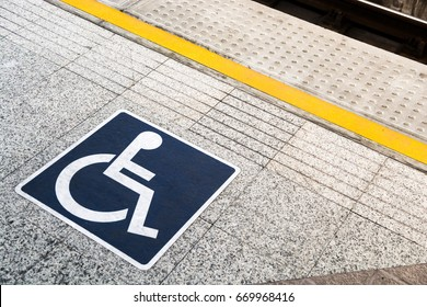 Sign disabled people on the sky train station, Bangkok Thailand.