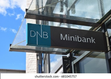 Sign of DNB ATM bank - Kongsvinger City, Norway (20th July 2017)